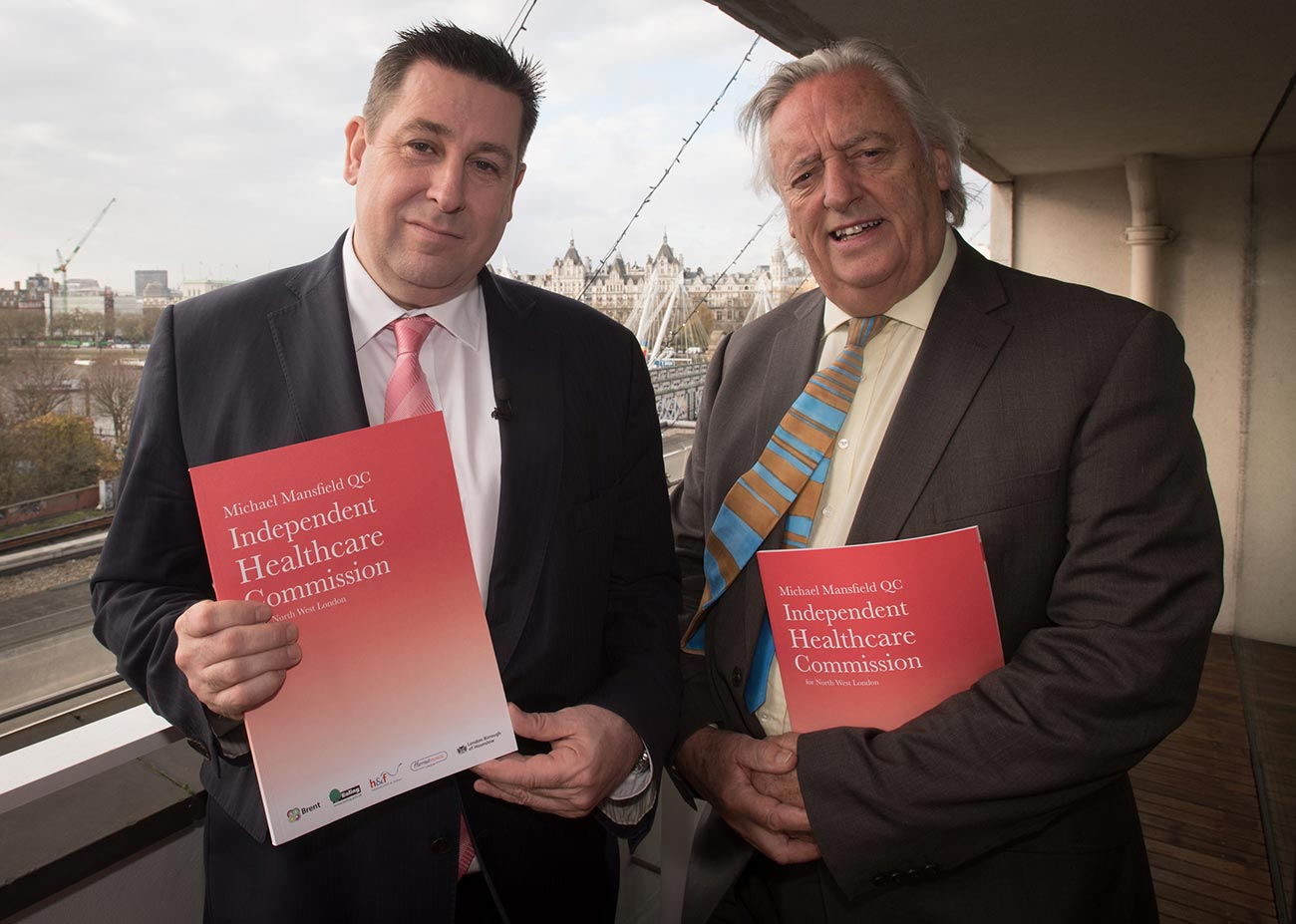 Hammersmith & Fulham Council Leader, Cllr Stephen Cowan, and Michael Mansfield QC release the Independent Healthcare Commission's report
