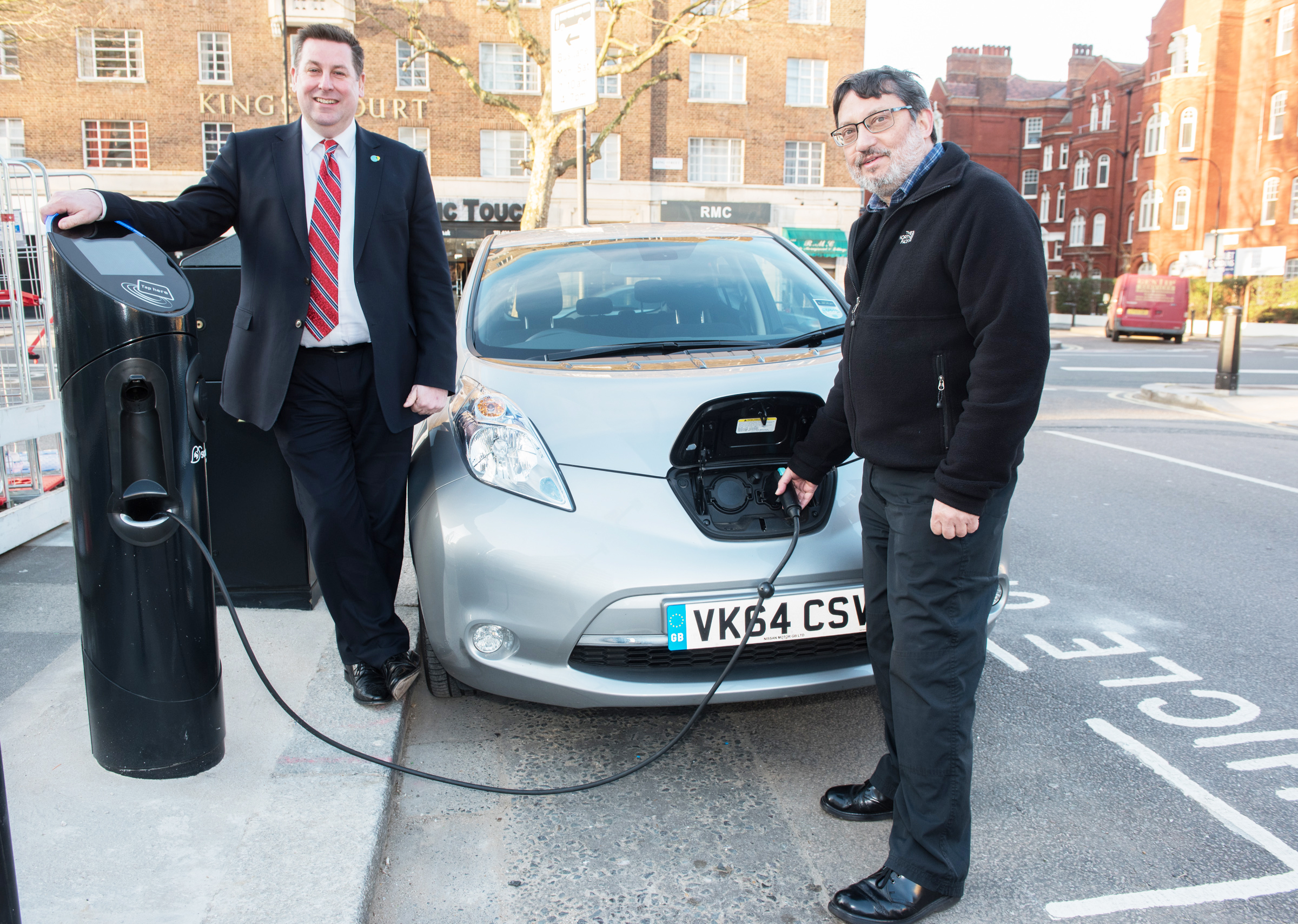 H&F Council Leader Stephen Cowan and Cllr Wesley Harcourt get charged up in Standish Road, Hammersmith