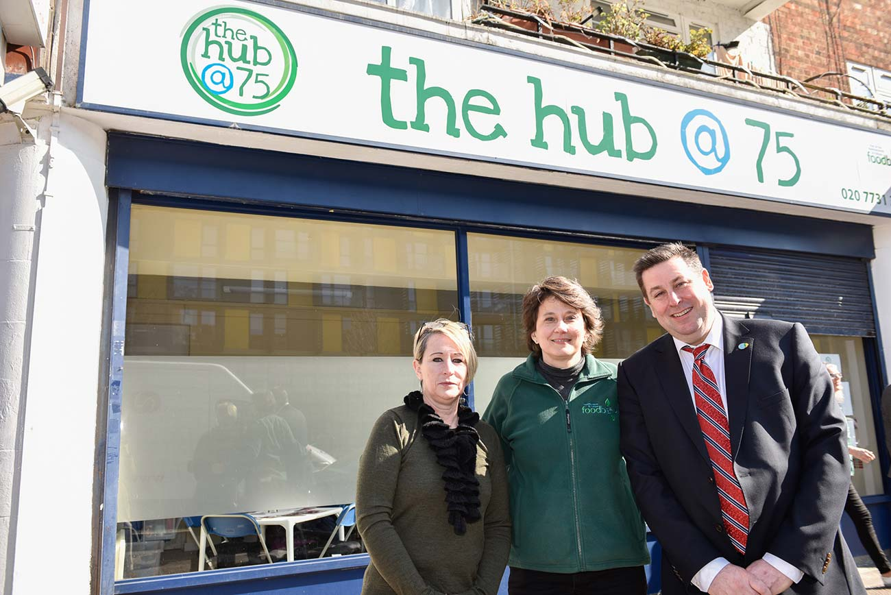 Cllr Sue Fennimore, H&F Foodbank CEO Daphine Aikens and H&F Council Leader Stephen Cowan at The Hub @75