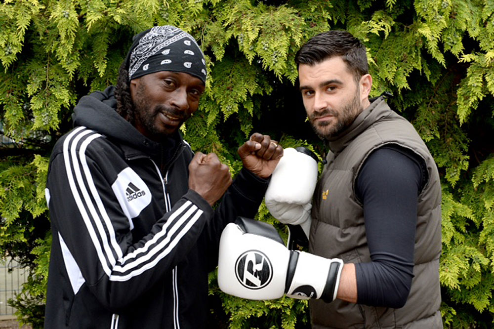 Hurlingham Boxing Club head coach Roy Reid (left) and Rory Parsons