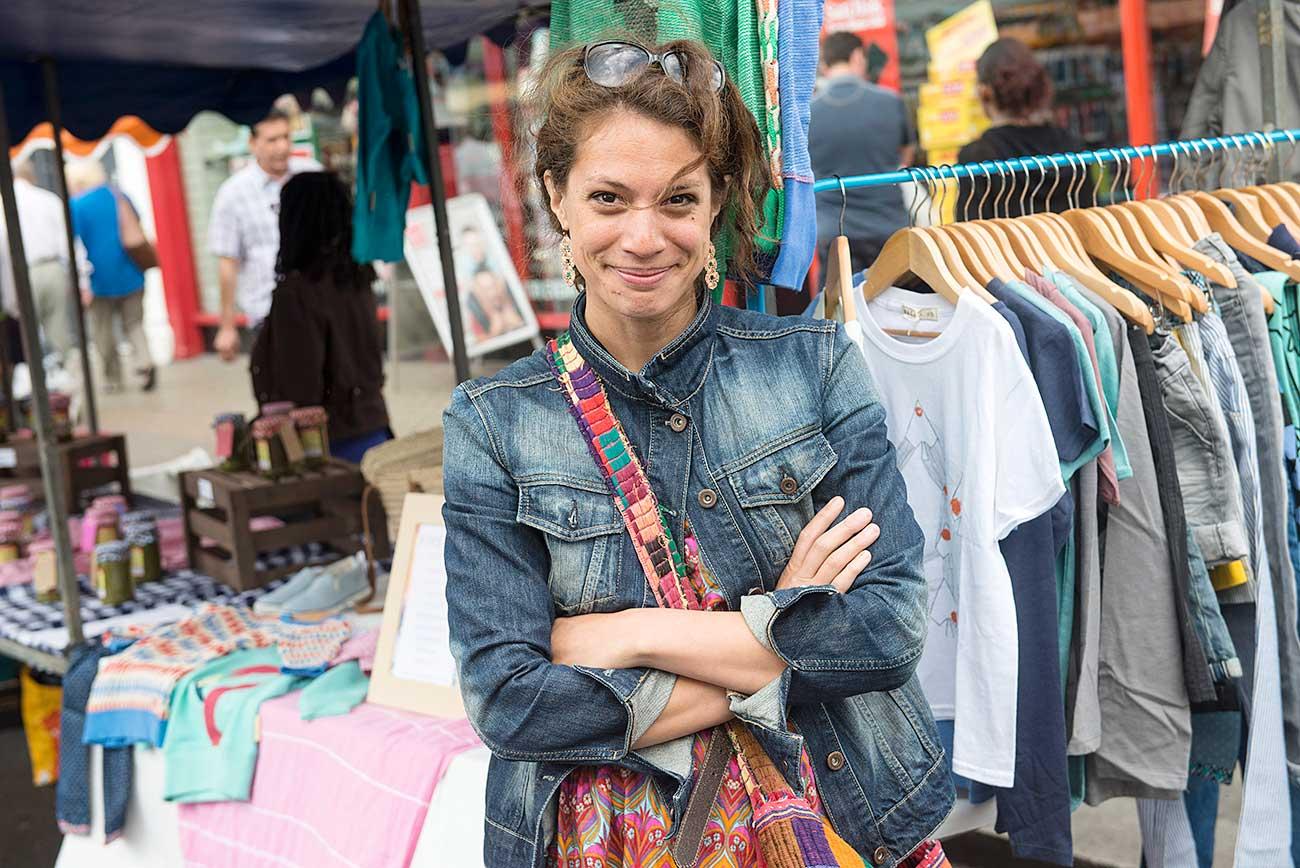 A trader at North End Road market