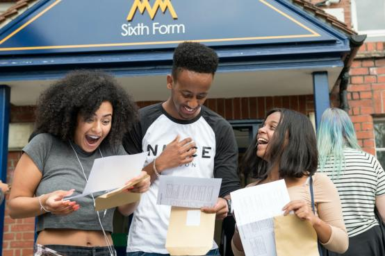 Some of the many William Morris Sixth form students, delighted with their results
