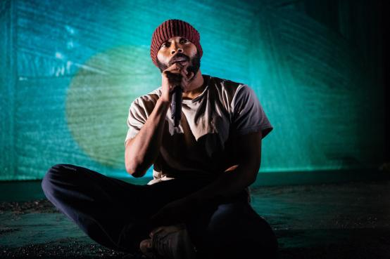 Arinzé Kene performing in his own play, Misty, at the Bush Theatre in Shepherds Bush