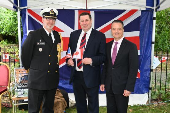 Cllr Stephen Cowan with Commander Corey Bursey and Mr Jody Hunt