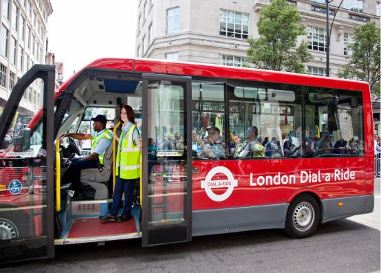 Dial-a-Ride coach on a London street