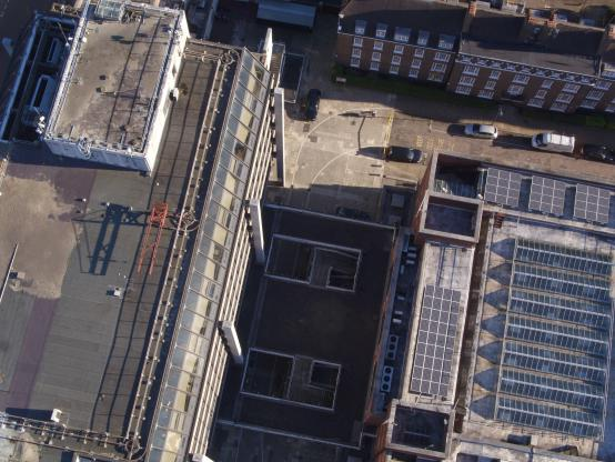 A drone checks out the roof of Hammersmith Town Hall