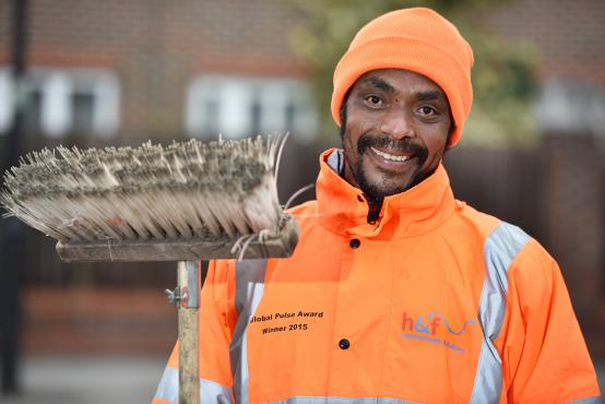 Street cleaner Lazarus Eliodore won two awards for his hard work