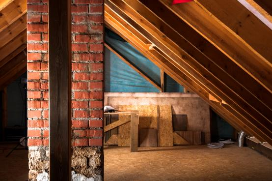 Loft space with insultation applied to the floor space and walls