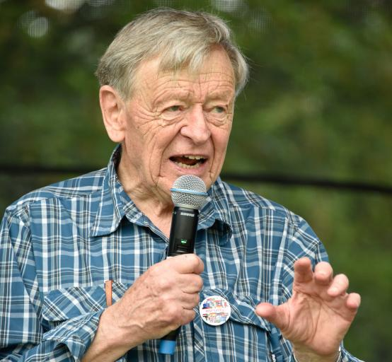 Lord Alf Dubs speaks at H&F Council's Unity Day in Ravenscourt Park last summer