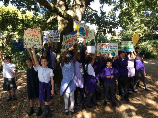 Miles Coverdale Primary Schools pupils with climate change placards in Godolphin Community Garden