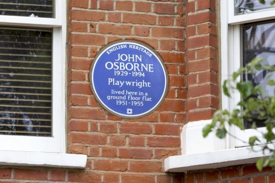 Blue plaque for playwright John Osborne in Brook Green