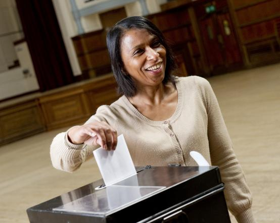 Casting your vote in a ballot box
