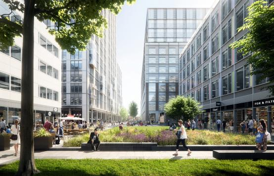 Artist's impression of White City Place, showing the main gateway, office buildings and retail units