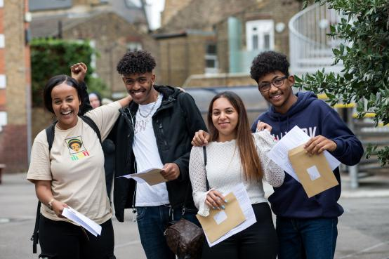 Students collect their A-level results at William Morris Sixth Form