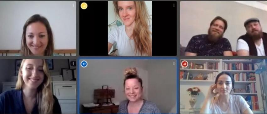 Six people on a screen taking part in a Zoom video conference
