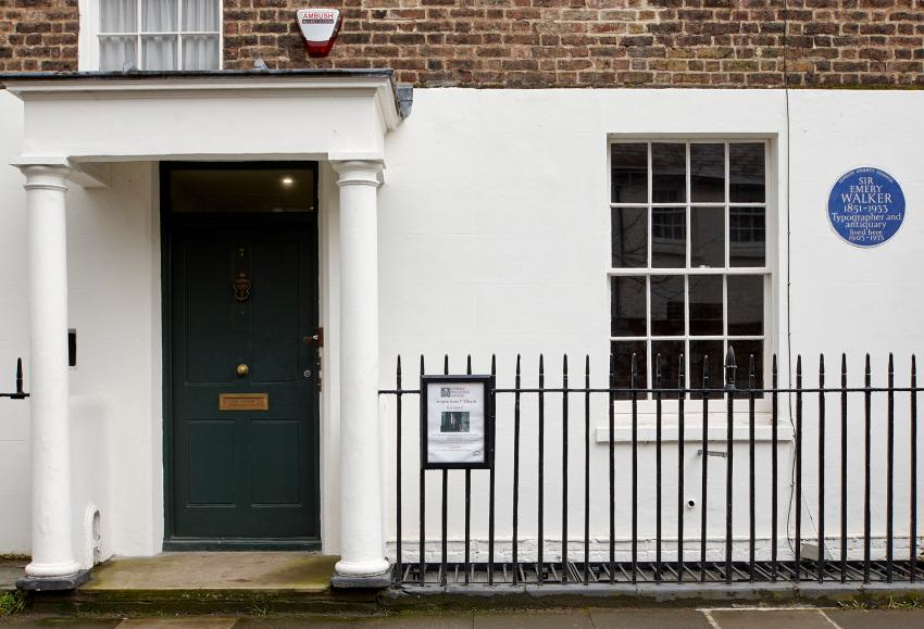 Sir Emery Walker's house at 7 Hammersmith Terrace showing the blue plaque on the wall