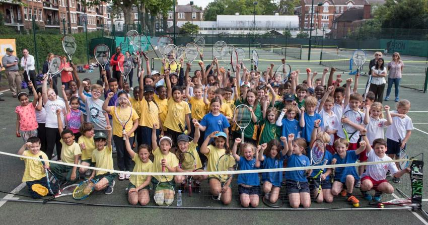 All Saints pupils celebrate their tennis victory