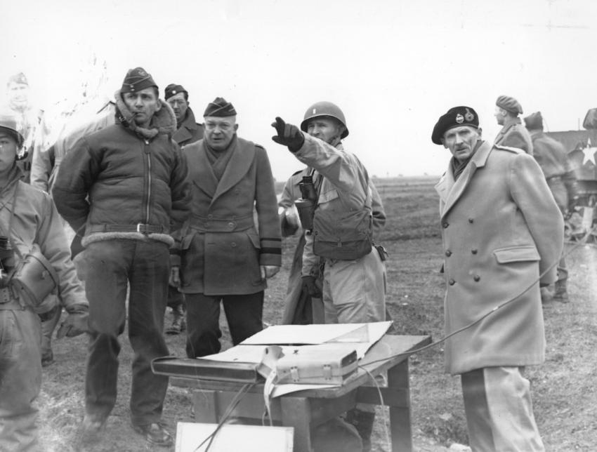 Allied Chiefs watch tank manoeuvres in preparation for D-Day landings