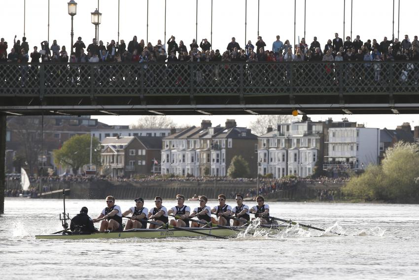 The annual Boat Race on the river Thames at Hammersmith