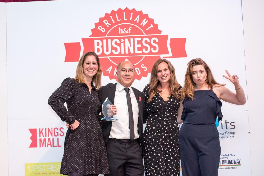 Boom Cycle pick up their Best New Business award at 2018's event
