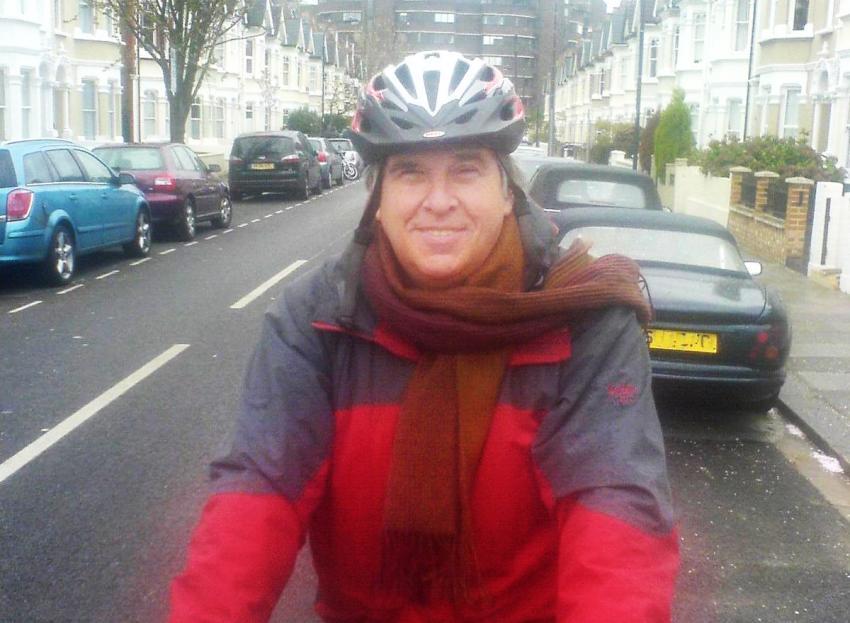 Ex-councillor Brendan Bird riding a cycle on the road