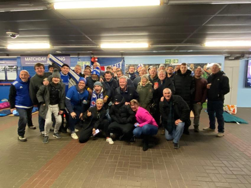 Members of Chelsea Supporters Trust prepare for their sponsored sleep-out