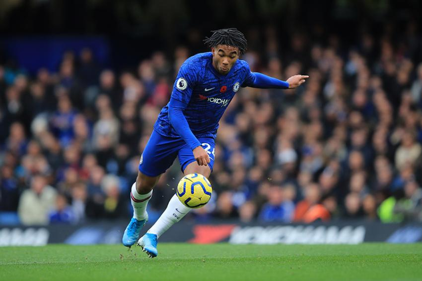 Chelsea right back Reece James about to clear the ball