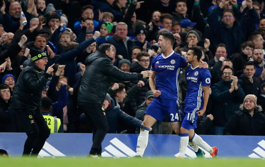 Pedro and Gary Cahill celebrate scoring Chelsea's first goal against Spurs. Picture: Action Images