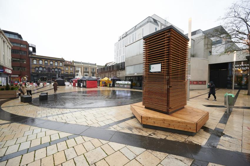 City Tree structure in the centre of Lyric Square, Hammersmith with the Lyric Theatre in the background