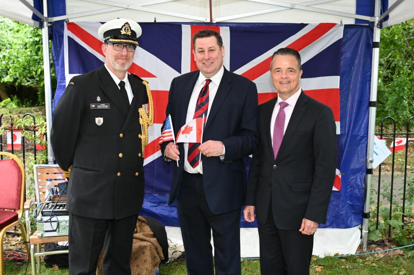 Cllr Stephen Cowan with Commander Corey Bursey and Mr Jody Hunt