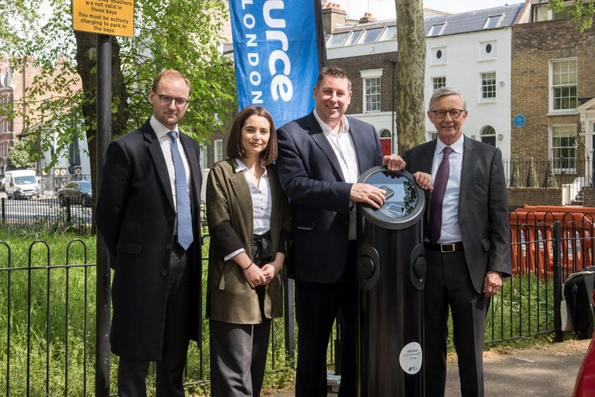 Cllr Stephen Cowan with Source London executives at Eel Brook Common