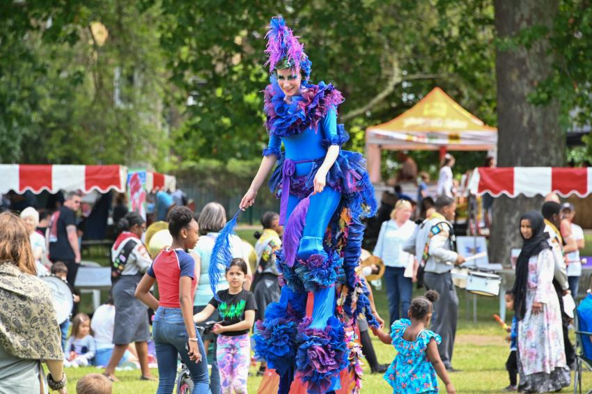Children's funfair and crowd at H&F CommUNITY Day 2019