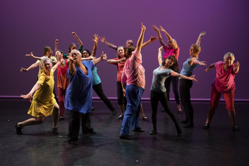Memebers of the DanceWest group performing on the stage of the Lyric Hammersmith theatre