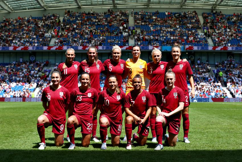 The England Women football team line up at Brighton