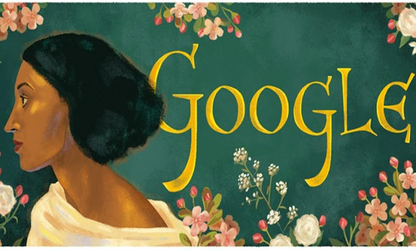 Drawing of Fanny Eaton and floral images adjacent to the word Google on a recent Google doodle