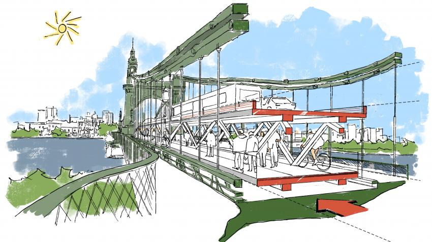 Drawing of the new temporary double-decker crossing within the existing structure of Hammersmith Bridge
