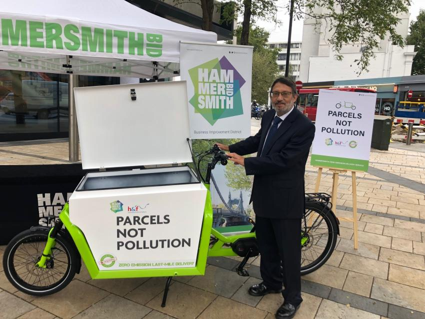 Cllr Wesley Harcourt launches the new pollution-free delivery service at Lyric Square in Hammersmith