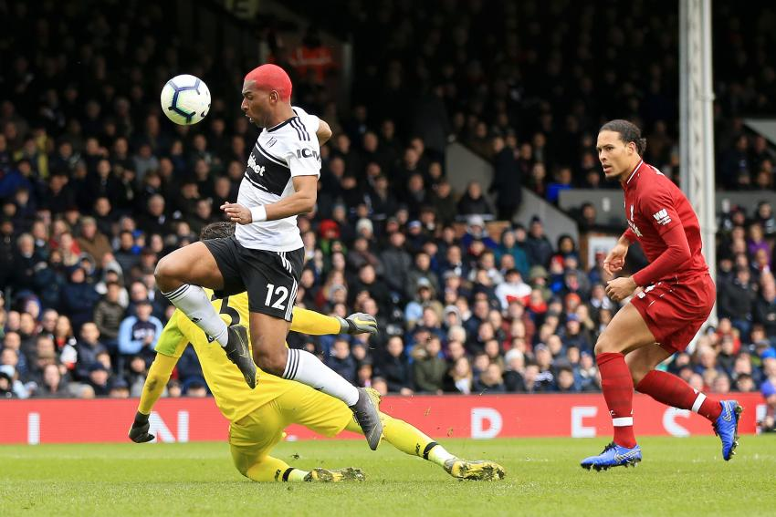 Ryan Babel of Fulham scores his side's first goal