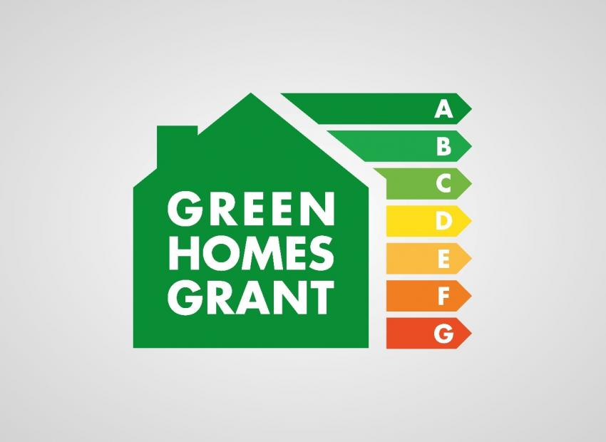 Green Homes Grant logo showing a graphic of a green house with energy efficiency rating bars coming off the side