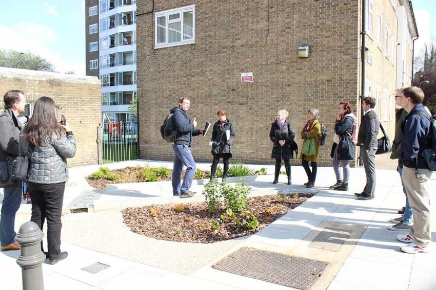 Queen Caroline Estate sustainable drainage systems tour