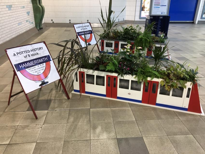 Hammersmith tube station planters based on a heritage theme