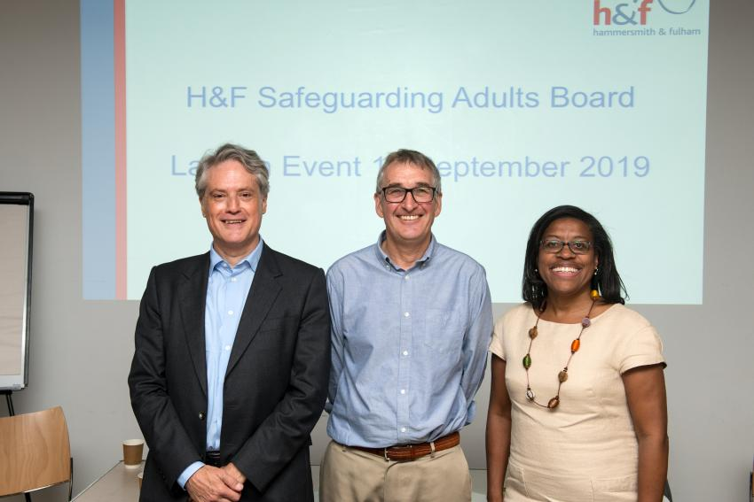 Cllr Ben Coleman, chair of the Safeguarding Adults Board Mike Howard, and H&F Council chief executive Kim Smith