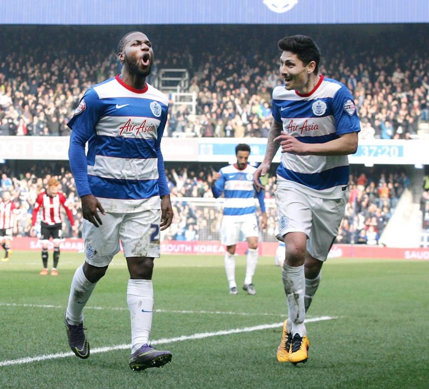Junior Hoilett celebrates after scoring the first goal for QPR. Picture: Action Images