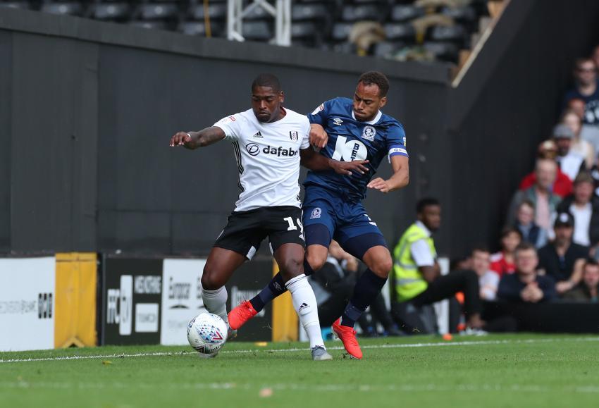 Ivan Cavaleiro of Fulham and Elliott Bennett of Blackburn Rovers