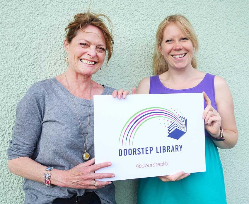 Janet Ellis (left) with the Doorstep Library