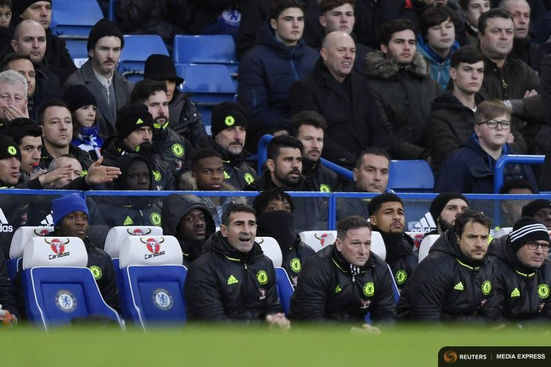 General view of Chelsea players in the stands including John Terry and Diego Costa