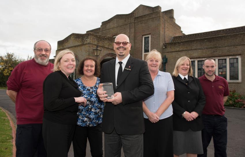 Mortlake crematorium award. 16.11.16 LtoR Gary Smithers, Natasha Bradshaw, Andrea Graham, Steve Biggs, Marian Curran, Lisa Garlick and Richard Hooker with the award.