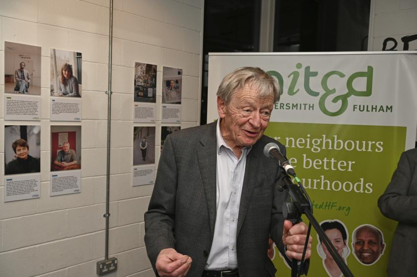 Lord Alf Dubs launching the 'HUmans of Hammersmith & Fulham 2020' exhibition at The Lyric Theatre in Hammersmith