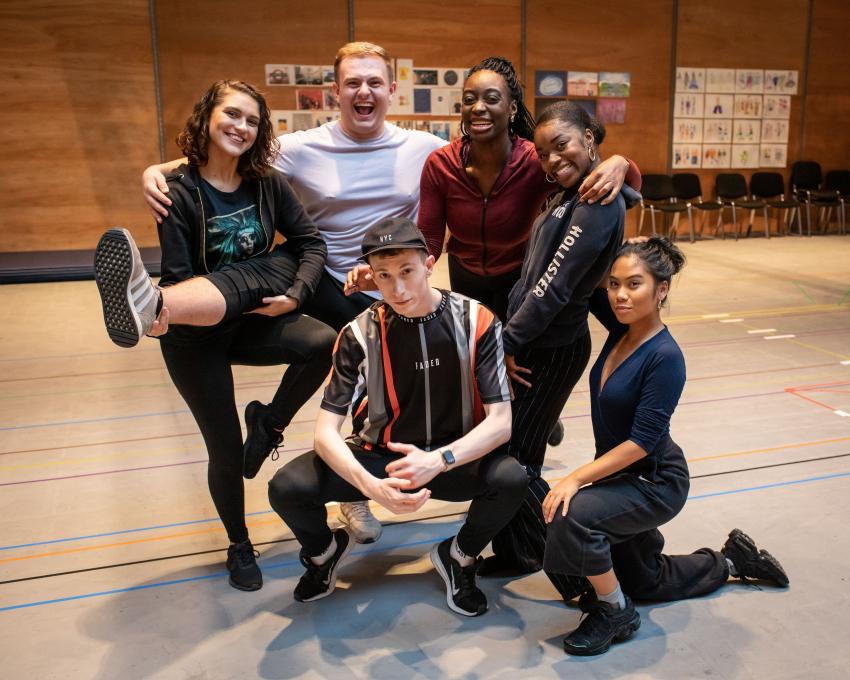Group of actors and performers in a rehearsal space at the Lyric Hammersmith