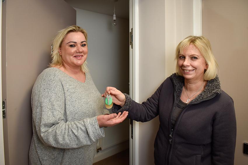 New Lisgar Terrace resident Magda Ryan with Cllr Lisa Homan